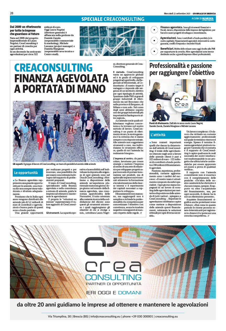 Giornale Di Brescia CreaConsulting